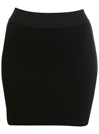 Black elastic mini skirt