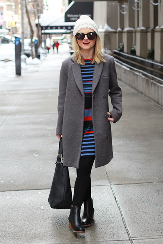 poor little it girl blogger grey coat striped dress winter dress coat hat dress tights shoes printed knit dress
