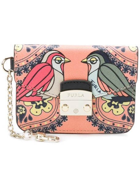 Furla women purse leather print purple pink bag
