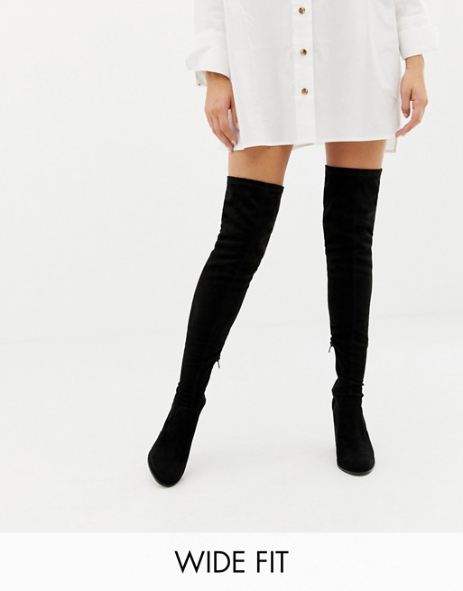 ASOS DESIGN Wide Fit Kassidy heeled over the knee boots at asos.com