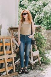kristina magdalina,blogger,sunglasses,top,jeans,bag,shoes