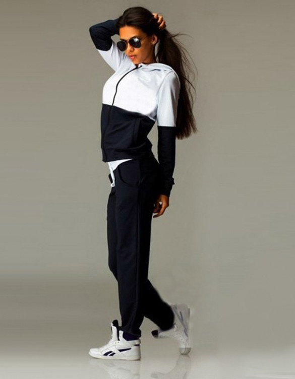 Contrast Sweatpants Hoodie Set – Outfit Made