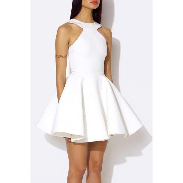 Women's Trendy Halter Candy Color Cut Out A-Line Dress (WHITE,L ...
