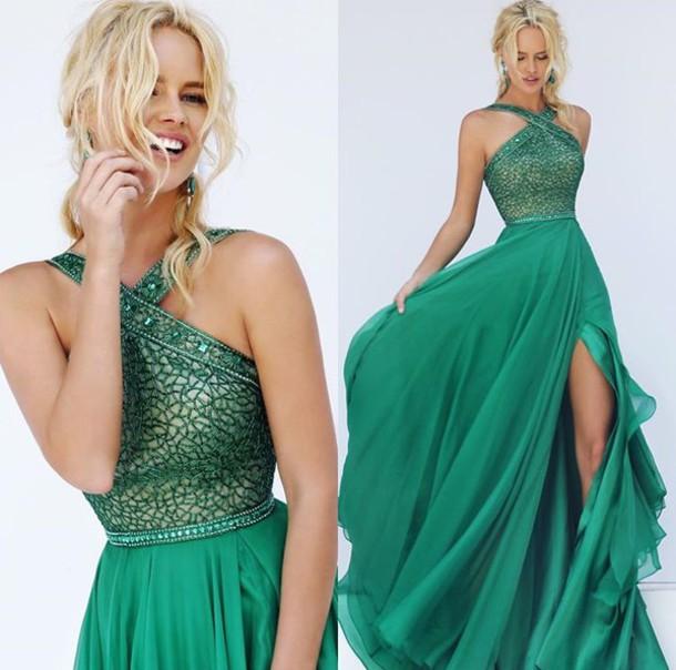 fbeead3529b dress high neck prom prom dress green dress green emerald green halter dress  slit dress a