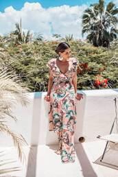 dress,floral dress,maxi dress,side split,ruffle dress,earrings,v neck dress