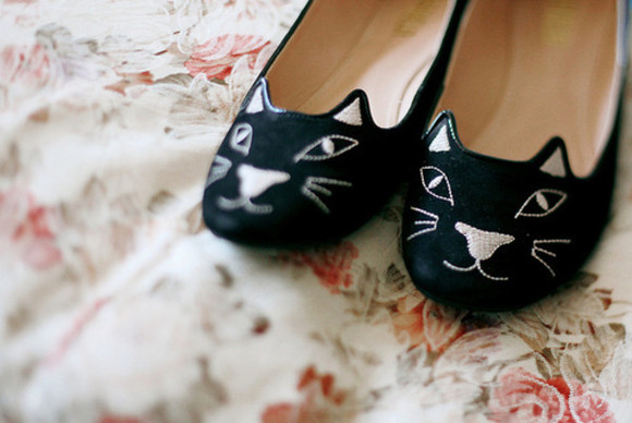 shoes cat shoes flats cat kitty ballet shoes