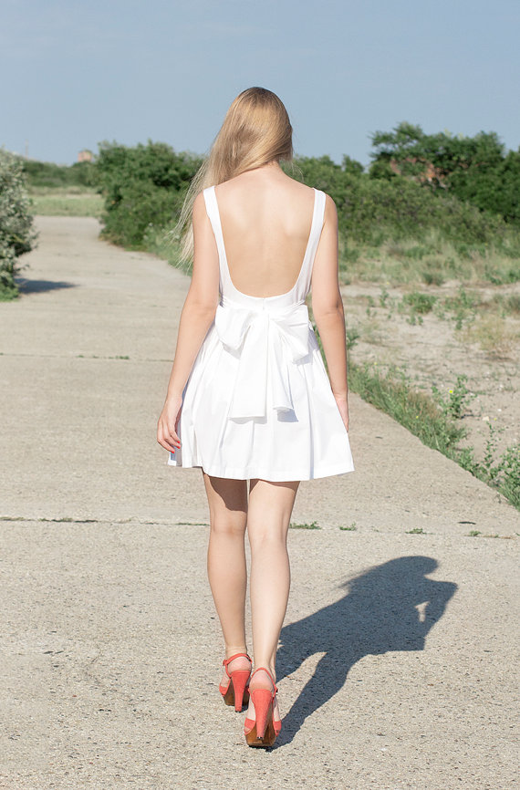 Backless Short Cotton Dress  More Colors by LanaStepulApparel