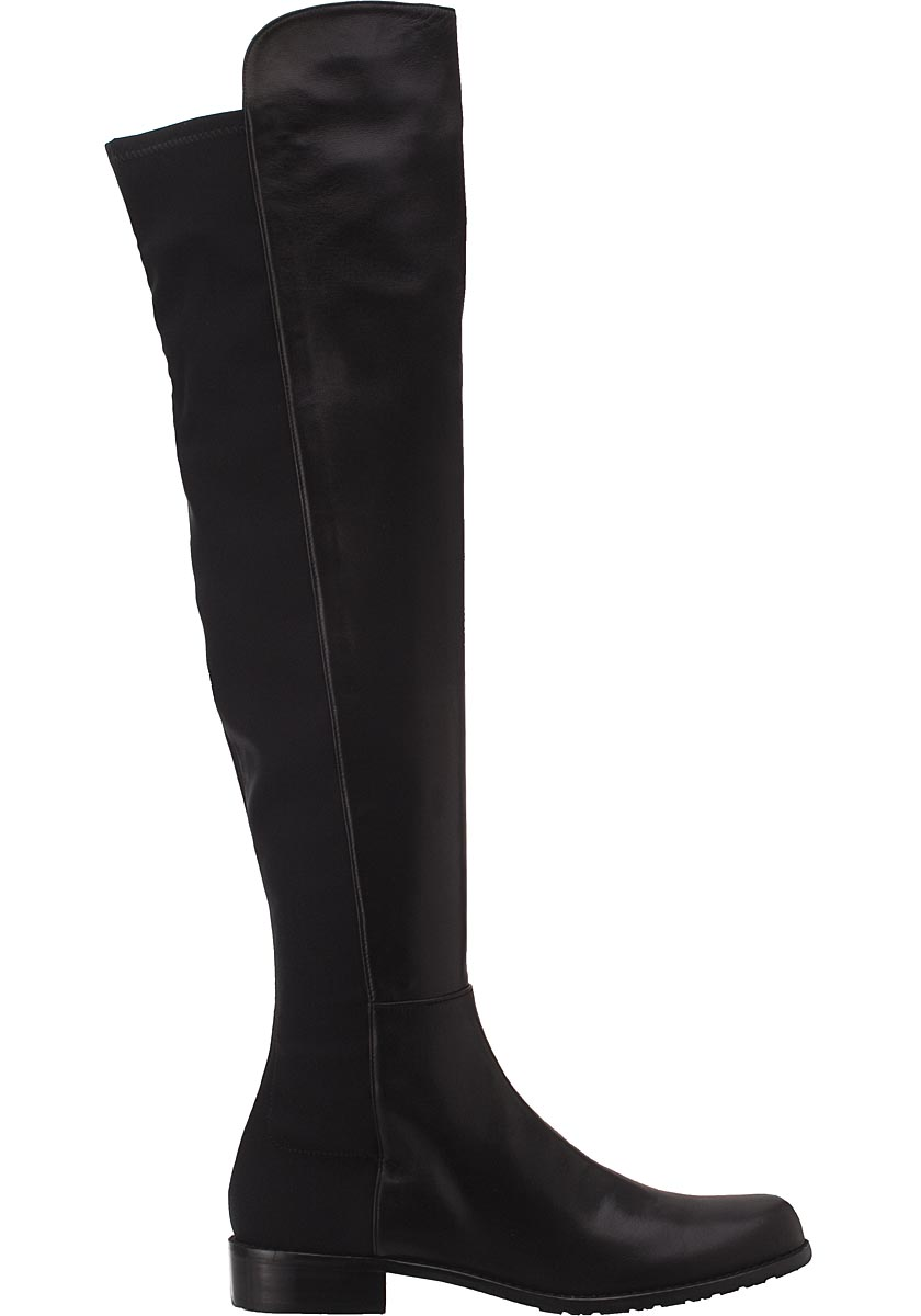 Stuart Weitzman 5050 Over-the-Knee Boot Black Leather - Jildor Shoes, Since 1949