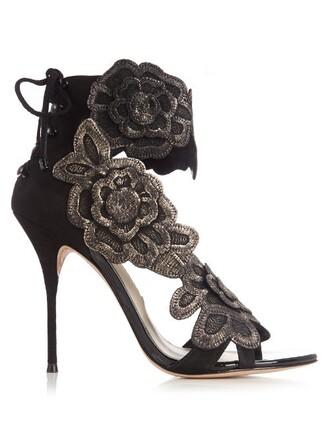 sandals floral suede gold black shoes