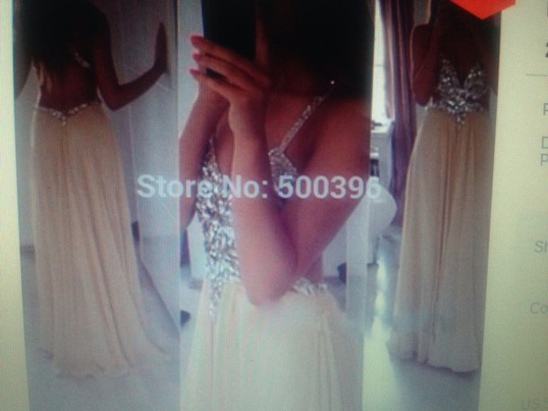 dress v neck champagne prom dress