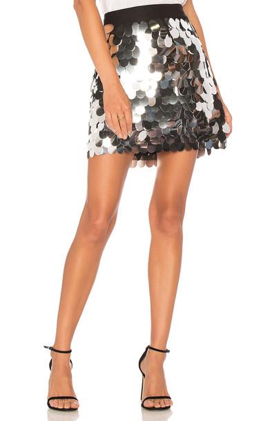 MILLY skirt mini skirt mini metallic silver