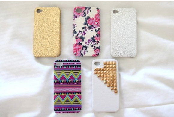 jewels studded iphone cover iphone cover iphone iphone4 iphone case iphone 4s case flowers aztec glitter phone case