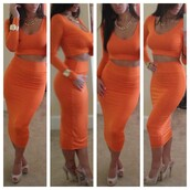 dress,two-piece,high waisted skirt,crop tops,orange,tight fitted,bodycon,skirt,shirt