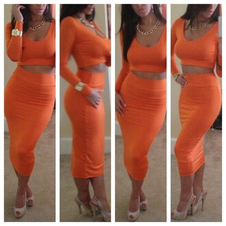 dress two-piece high waisted skirt crop tops orange tight fitted bodycon skirt shirt