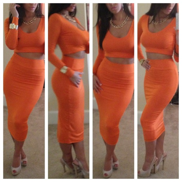 dress two high waisted skirt crop tops orange