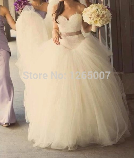 Aliexpress.com : Buy Cute Sweetheart Lace Top With Belt Poofy Tulle Princess Fashion Wedding Dresses Elegant Bridal Dress from Reliable lace material for sale suppliers on SFBridal