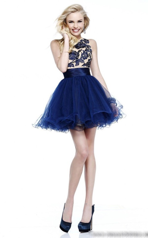 dress blue prom dress navy royal blue dress lace tulle skirt short prom dress