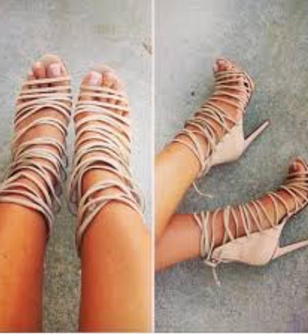 shoes high heel sandals strappy heels nude sandals