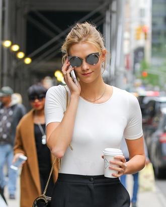 sunglasses karlie kloss black sunglasses tumblr white t-shirt