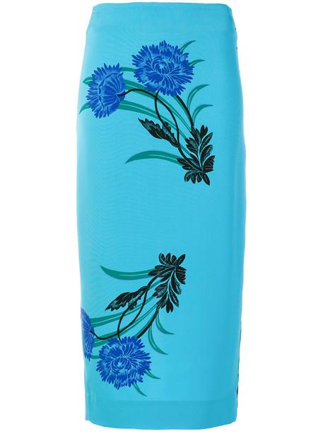 Dvf Diane Von Furstenberg skirt printed skirt women blue silk
