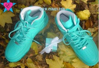 shoes custom nike air force ones custom force ones hi top tiffany blue sneakers tiffany blue air force ones tiffany blue wedding shoes