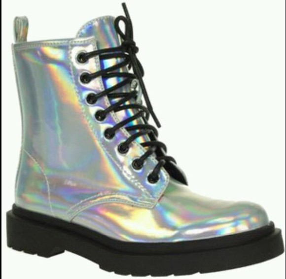 shoes boots silver holographic