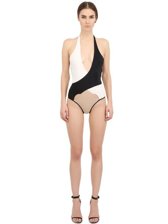 one piece swimsuit white black beige swimwear