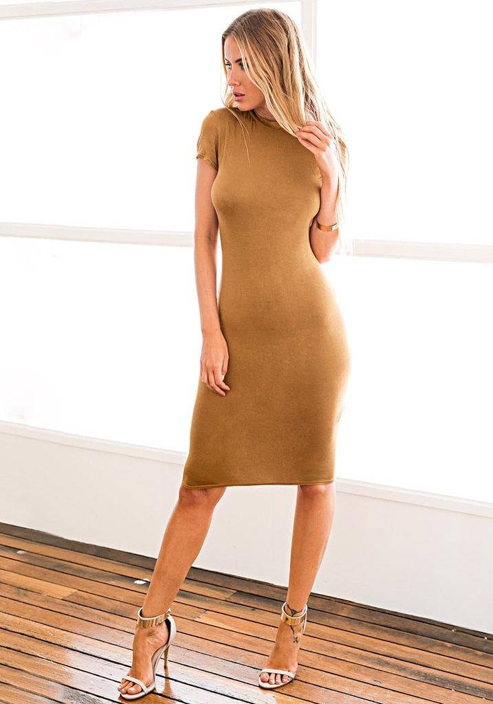 Brown Midi Sheath Dress