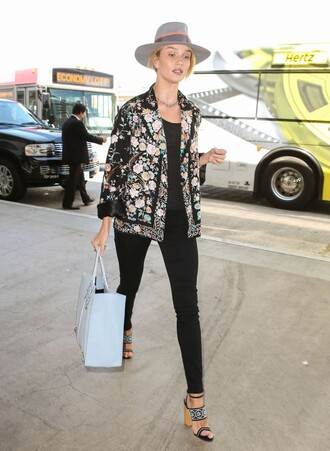 sandals jacket hat rosie huntington-whiteley pants top floral jacket floral