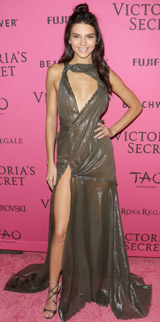 dress gown slit dress kendall jenner asymmetrical dress victoria's secret sandals shoes