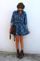 dress,blue dress,denim,denim dress,paris,pretty,summer,spring,2013,indie,boho,classy,tumblr,shoes,mini dress,short dress,boots,leather,pattern,sunglasses,purse,cute,petite,sweet,cool