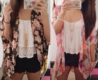 cardigan kimono flowers white top necklace hair accessory skirt shorts phone cover floral cardigan