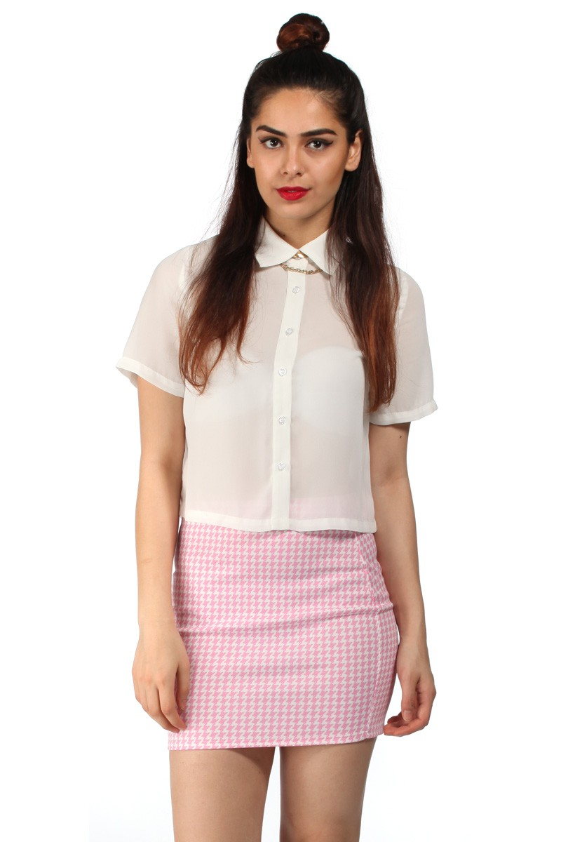 Charli houndstooth bodycon pink and white mini skirt