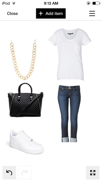 bag nike air force 1 gold chain necklace blackpurses blue jeans whitetshirt jewels pants t-shirt shoes