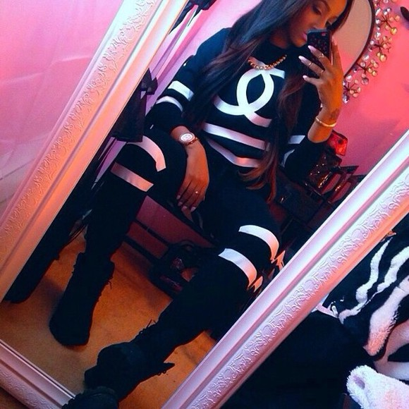 chanel jumpsuit pants jacket sweater blacktimberland,blacktracksuit