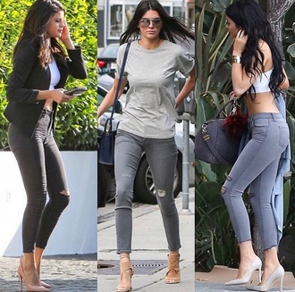 jeans gray selena gomez kendall jenner kylie jenner ripped jeans grey jeans red lime sunday
