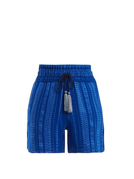 ZEUS + DIONE shorts jacquard geometric silk blue