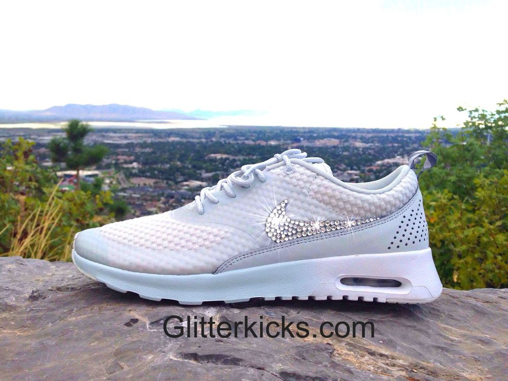 size 40 9233d 4aacb Nike Air Max Thea Running Shoes Swarovski Elements Rhinesotnes Gray Silver  White