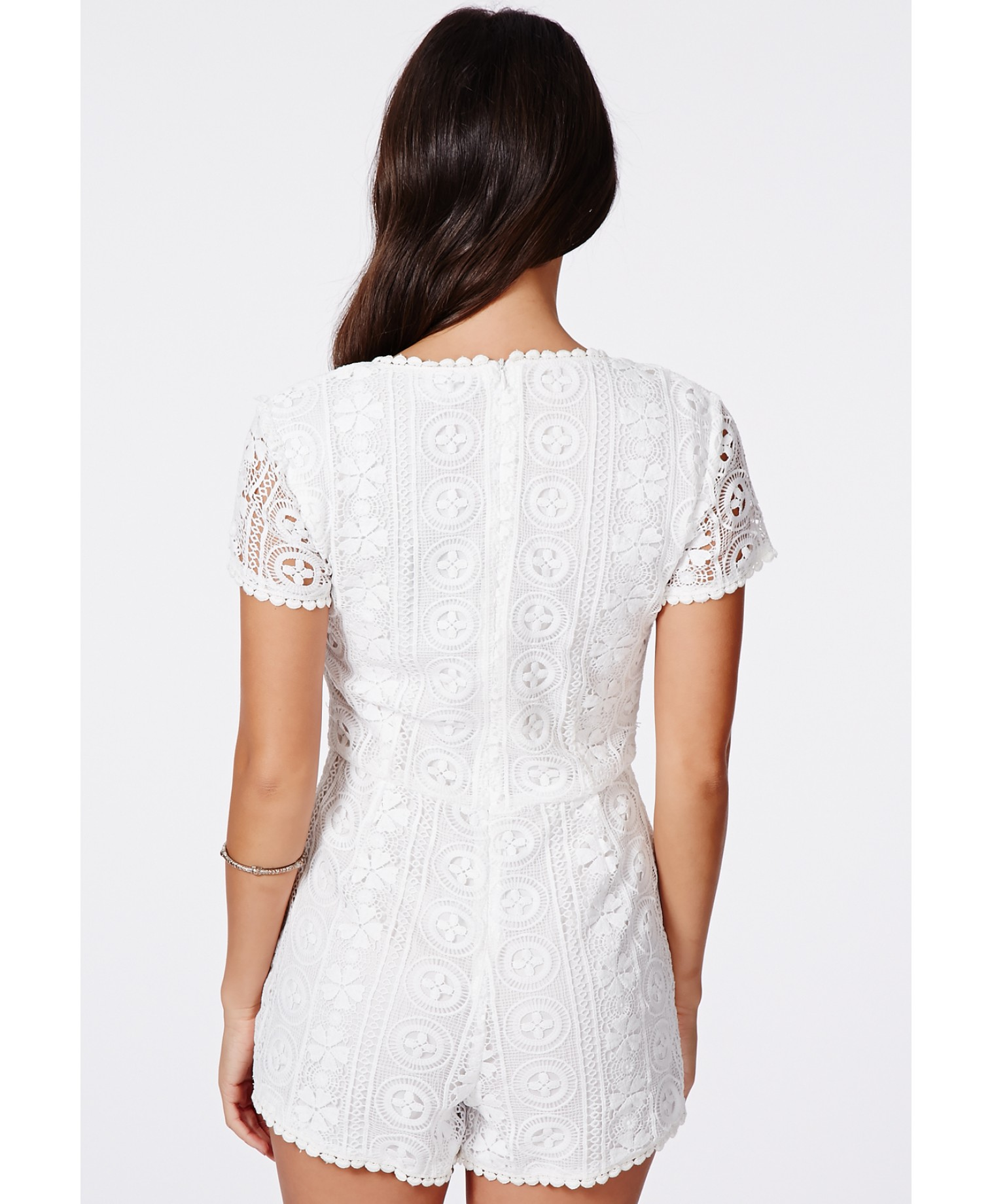 Missguided - Kerala Crochet Plunge Neck Playsuit - Campaign