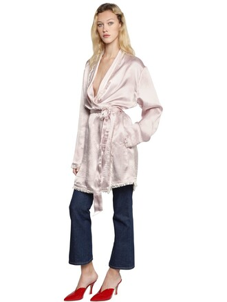jacket silk satin pink