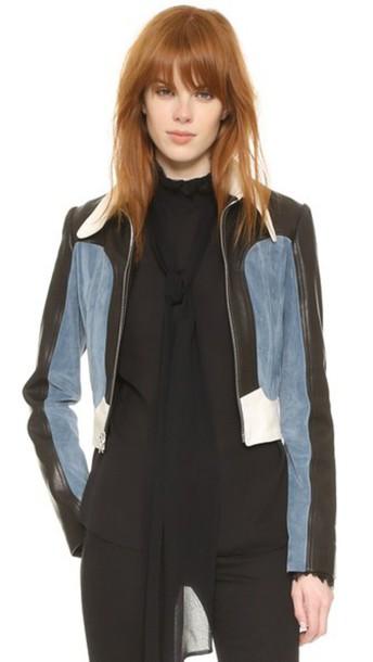 Rodarte jacket cropped jacket cropped colorblock white blue suede black