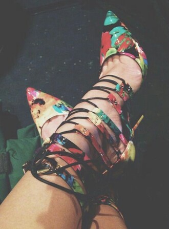 shoes floral spring shoes strappy