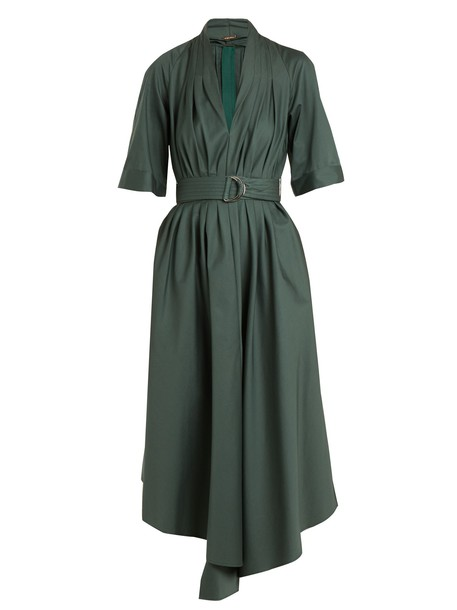 dress pleated cotton green