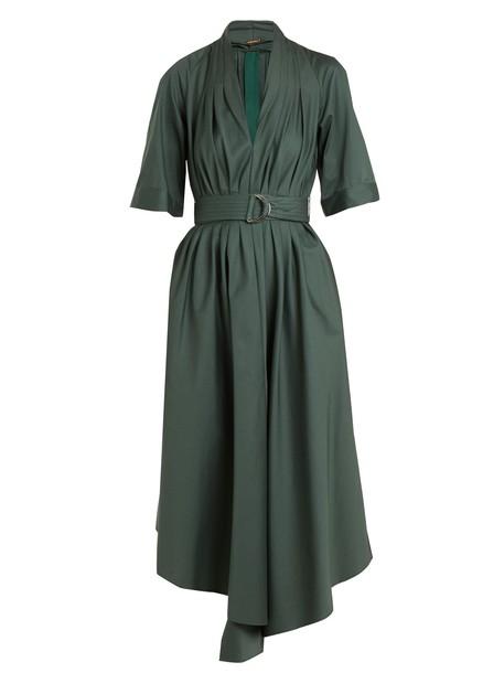 Adam Lippes dress pleated cotton green