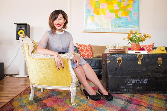 keiko lynn Belt jewels blogger lipstick blue dress vintage retro home decor