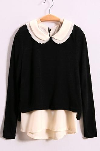 sweater black peter pan collar cute