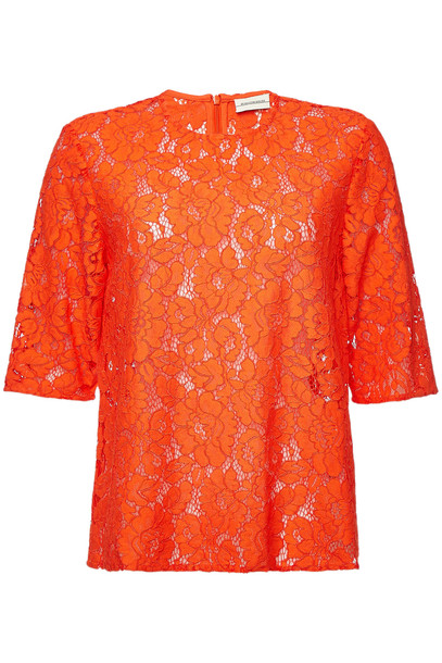 By Malene Birger Nolao Lace Top with Cotton  in red