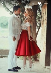 dress,red dress,red,white,white dress,white top,red skirt,two piece dress set,two-piece,tea length dresses,tea length tutu skirt,satin skirt,satin,lace,lace top,off the shoulder,homecoming,prom