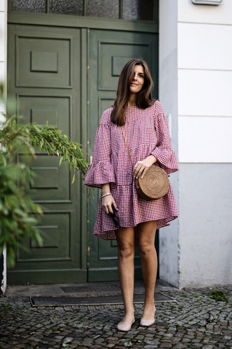 dress gingham shoes flats tumblr gingham dresses mini dress bell sleeves bag round bag summer dress summer outfits
