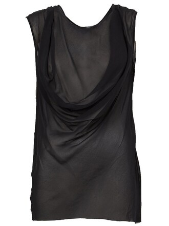 top sleeveless top sleeveless draped black